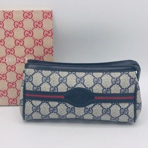 Authentic Gucci GG Monogram Leather Cosmetic Case